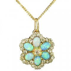 Antique Victorian Opal and Old Cut Diamond Pendant Brooch