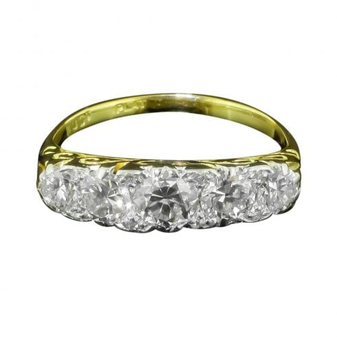 Antique Victorian Yellow Gold Old Cut Diamond Five Stone Ring