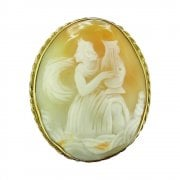 Antique Victorian Yellow Gold Oval Cameo Brooch Circa 1880