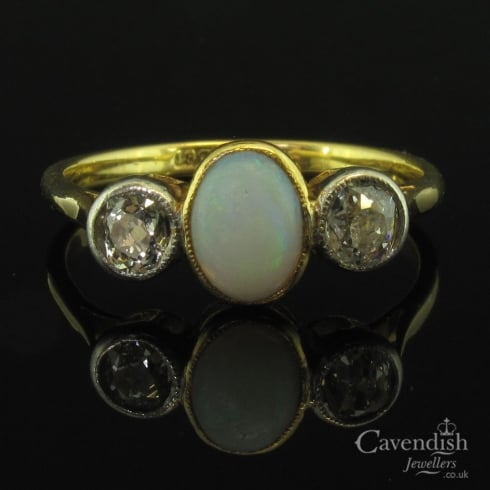 Antique Yellow Gold Opal And Diamond Trilogy Ring