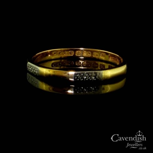Appealing 22ct Gold & Platinum Faceted Wedding Band