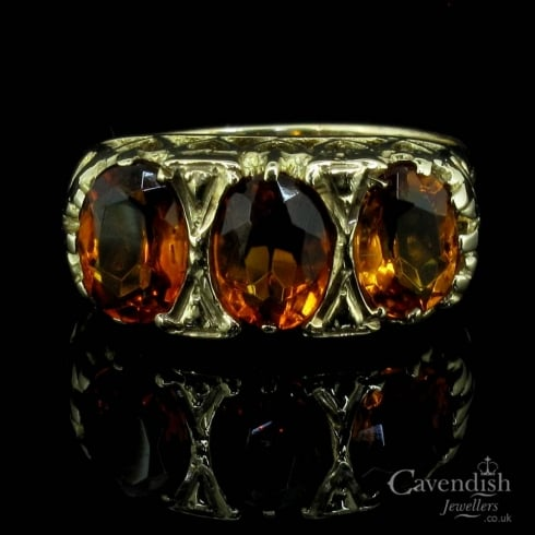 Appealing 9ct gold Citrine Trilogy Ring