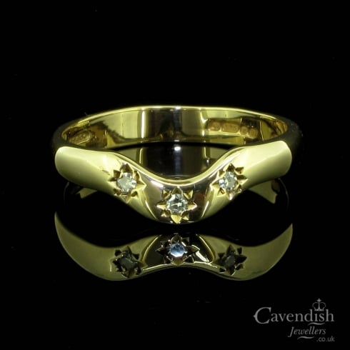 Appealing 9ct Gold Diamond Wishbone Ring