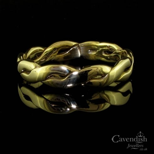 Appealing 9ct Gold Double Twist Wedding Band Ring