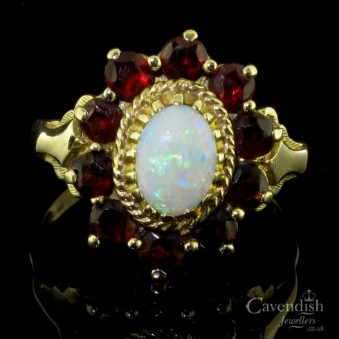 Appealing 9ct Gold, Opal And Garnet Cluster Ring