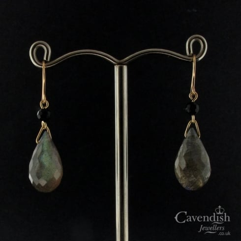 Appealing Gold Labradorite & Onyx Drop Earrings