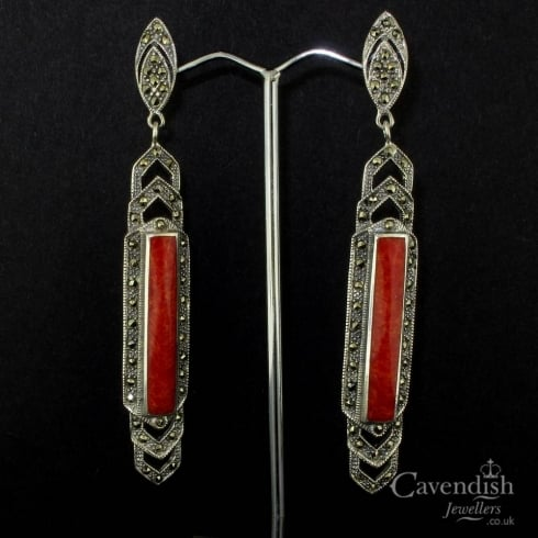 Appealing Silver, Treated Coral And Marcasite Drop Earrings