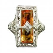 Art Deco Citrine & Diamond Filigree Ring