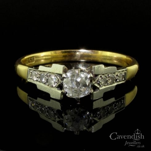 Art Deco Gold Diamond Solitaire Ring