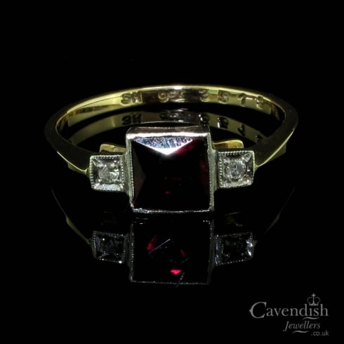 Art Deco Gold, Garnet and Diamond Trilogy Ring