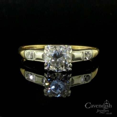 Art Deco Gold & Platinum Diamond Solitaire Ring