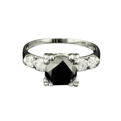 Art Deco Platinum Black Diamond Solitaire
