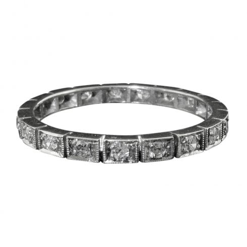 Art Deco Platinum Diamond Full Eternity Ring