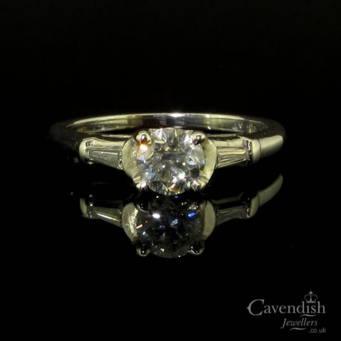 Art Deco Platinum Diamond Solitaire Ring