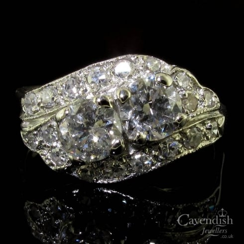 Art Deco Platinum Diamond Two Stone Cluster Ring