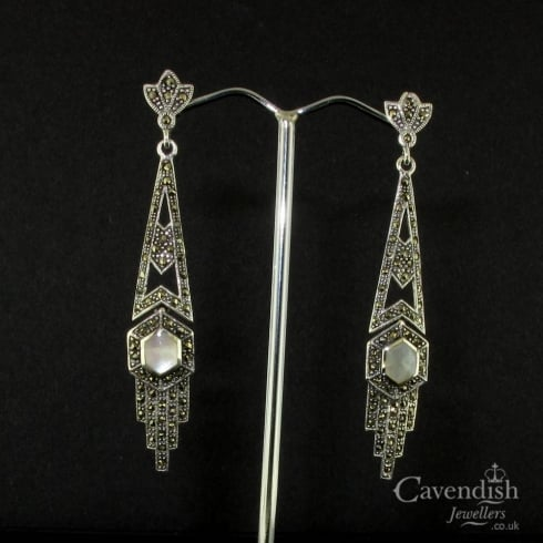 Art Deco Style Silver Mother of Pearl & Marcasite Drop Earrings