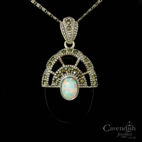 Art deco style silver onyx opal marcasite pendant from art deco style silver onyx opal marcasite pendant aloadofball Image collections