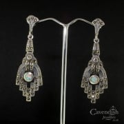 Art Deco Style Silver Opal & Marcasite Drop Earrings