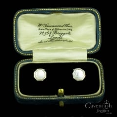 Art Deco White Gold And Mother of Pearl Dress Studs