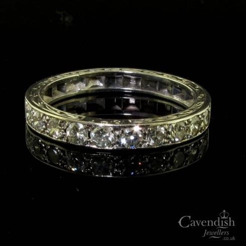 Art Deco White Gold Diamond Half Eternity Ring