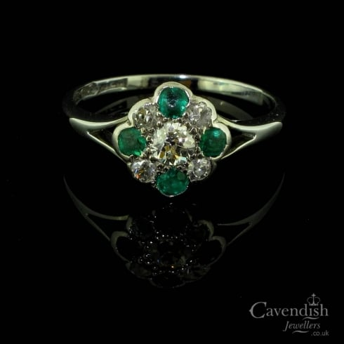 Art Deco White Gold Emerald And Old Cut Diamond Cluster
