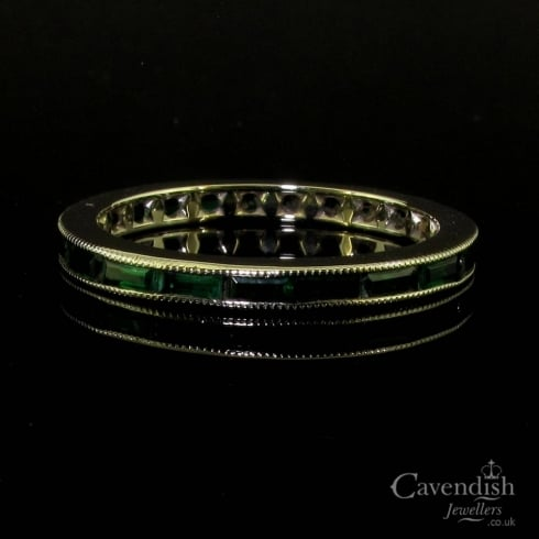 Art Deco White Gold Emerald Eternity Ring