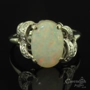 Art Deco White Gold Opal And Diamond Ring