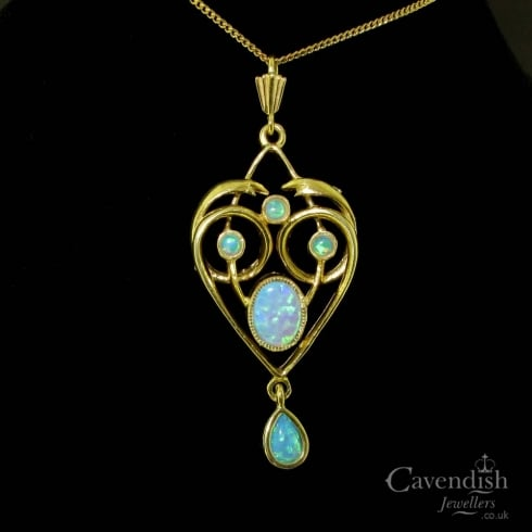 Art Nouveau Style Gold on Silver Faux Opal Heart Pendant