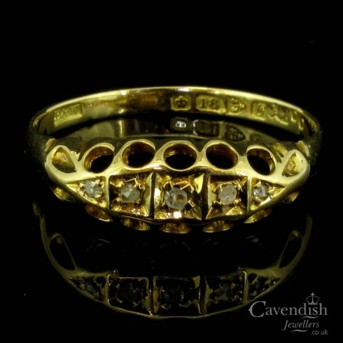 Attractive 18ct Gold & Diamond 5 Stone Ring