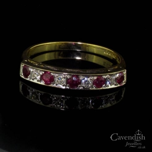 Attractive 18ct Gold Half Hoop Ruby & Diamond Ring
