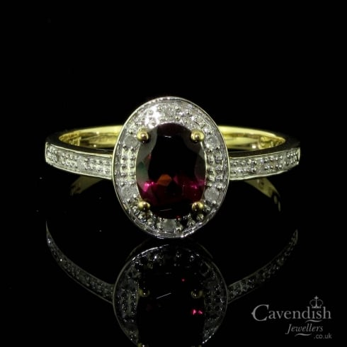 Attractive 9ct Gold, Rhodolite Garnet And Diamond Cluster Ring