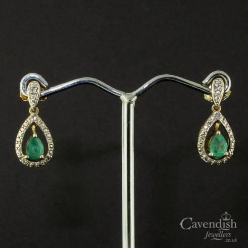 Attractive Gold on Silver Emerald Drop Earrings