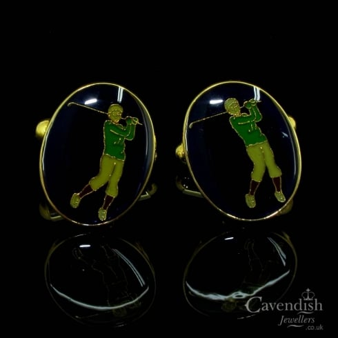Attractive Gold Plated And Enamel Golf Themed Cufflinks