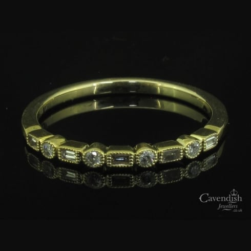 Attractive Mixed Cut Diamond Half Eternity Ring