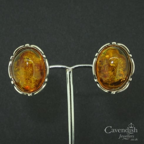 Attractive Silver & Amber Clip On Earrings