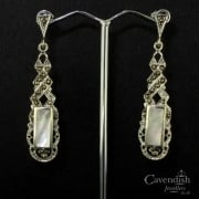 Attractive Silver, Mother Of Pearl And Marcasite Drop Earrings