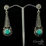 Attractive Silver, Turquoise And Marcastite Drop Earrings