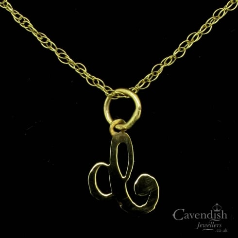 Attractive Yellow Gold Letter 'C' Pendant Necklace