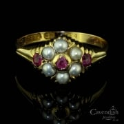 Beautiful 15ct Gold, Ruby And Seed Pearl Cluster Ring