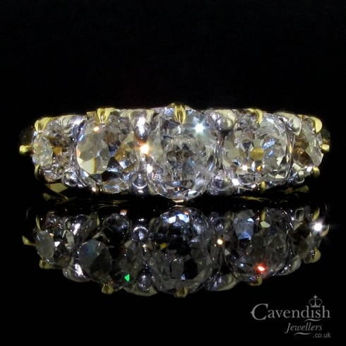 Beautiful 18ct Gold Old Cut Diamond 5 Stone Ring circa 1890