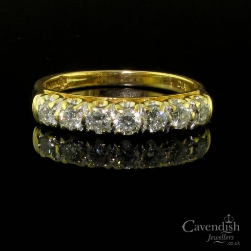 Beautiful 18ct Gold Seven Stone Diamond Ring