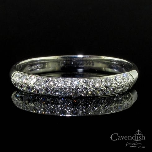 Beautiful 18ct White Gold Diamond Two Row Half Hoop Ring