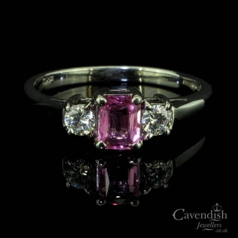 Beautiful 18ct White Gold Pink Sapphire & Diamond Trilogy Ring