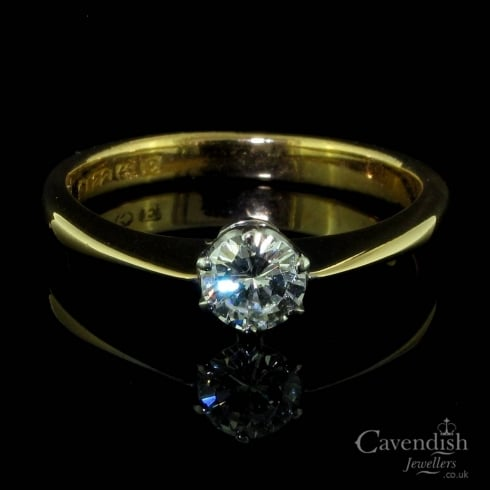 Beautiful 22ct Gold And Diamond Single Stone Solitaire Ring