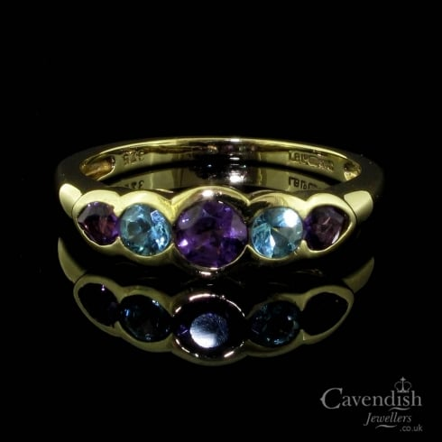 Beautiful 9ct Gold Amethyst And Blue Topaz 5 Stone Ring