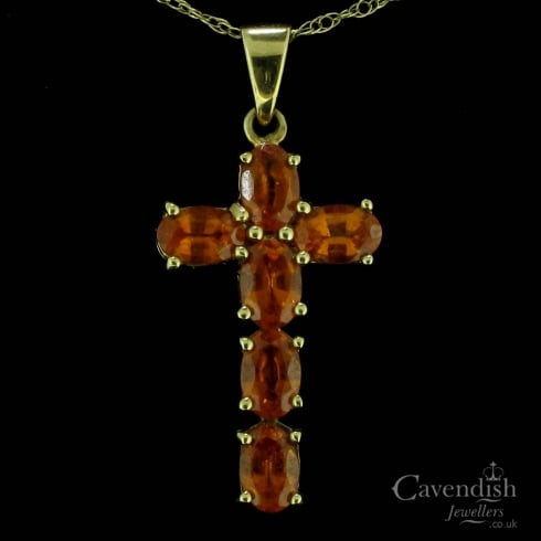Beautiful 9ct Gold Fire Opal Cross and Chain