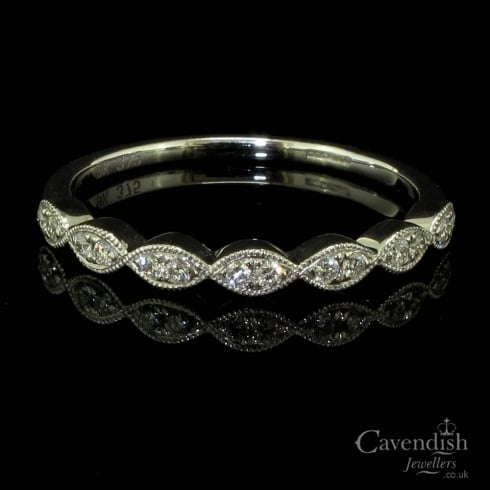 Beautiful 9ct White Gold Diamond Half Eternity Ring