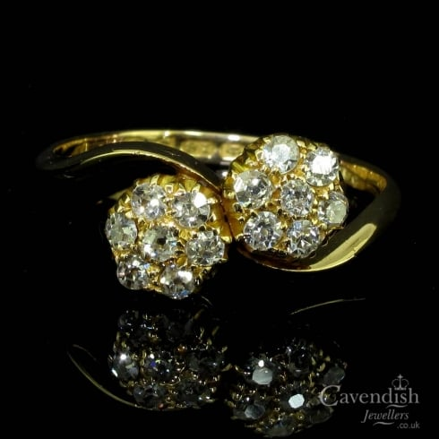Beautiful Antique 18ct Gold Diamond Double Cluster Ring