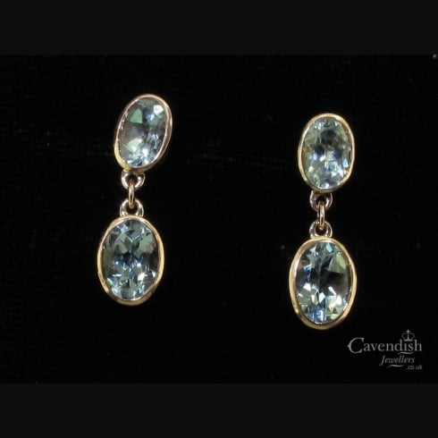 Beautiful Aquamarine Double Drop Earrings