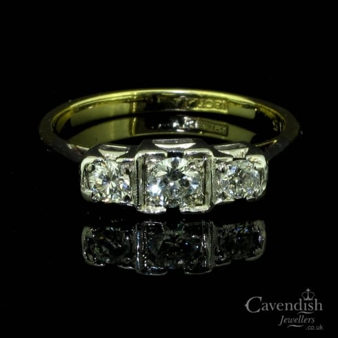 Beautiful Gold Diamond Three Stone Ring